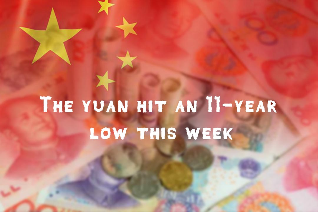 Chinese Yuan fell to 11 years lowest level this week