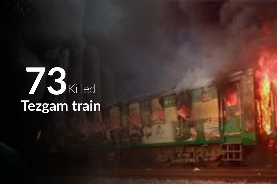 Tezgam Train caught fire killing at least 74 People in Pakistan