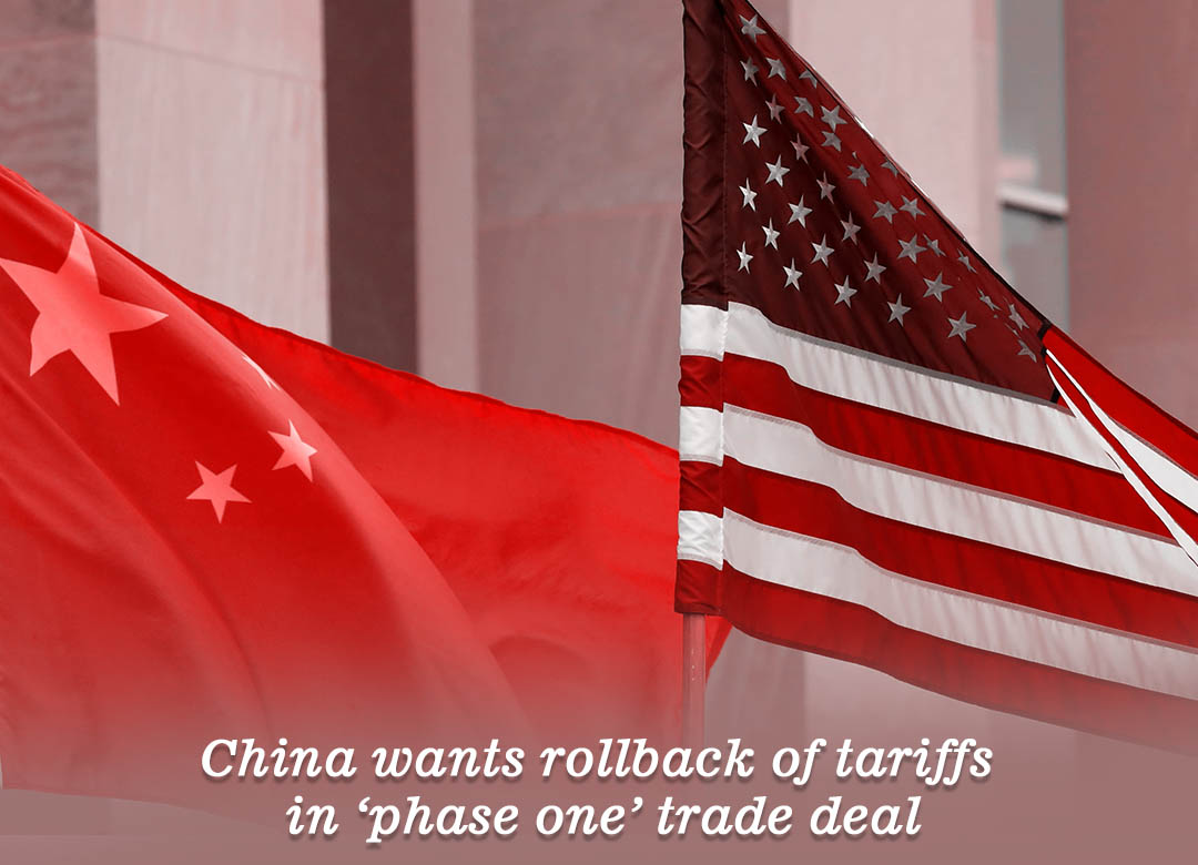 China wishes the removal of tariffs in phase one trade pact with the U.S.