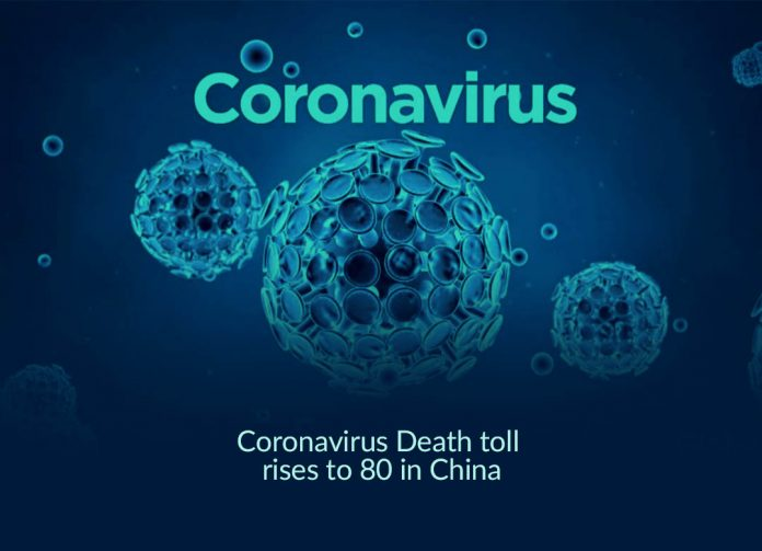 Coronavirus death toll rises to 80 in China with over 2700 cases