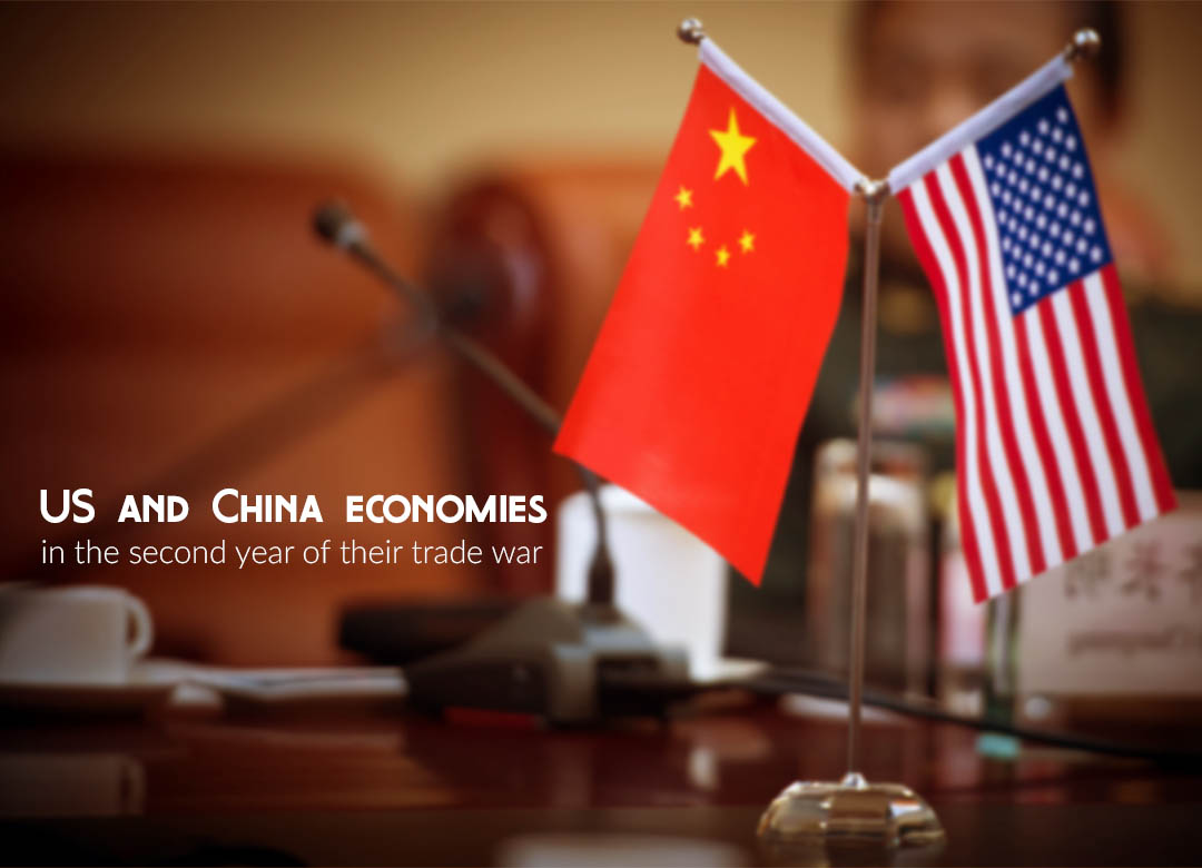 Trade charts comparison of the US & China economies in trade war 2nd year