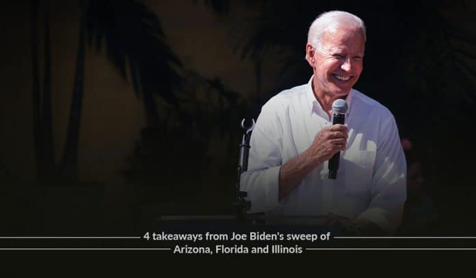 Joe Biden hattrick win by sweeping in Florida, Arizona and Illinois